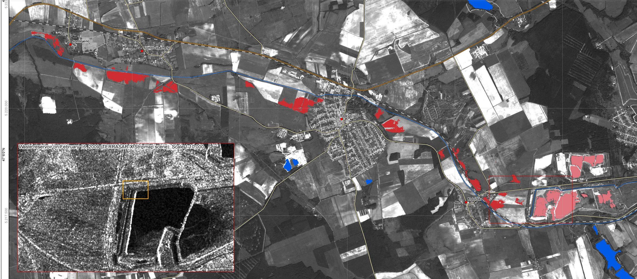 4. ábra A vörösiszappal borított területek (űrfelvétel, Űrvilág.hu)